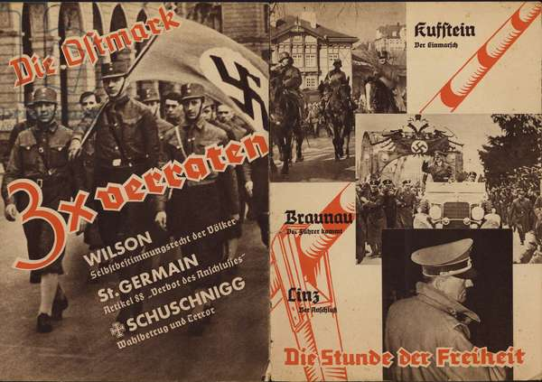 Propaganda for the Anschluss, ie the annexation of Austria into Nazi Germany on 12 March 1938 (litho)