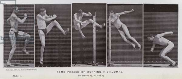 The Human Figure in Motion: Some phases of running high-jumps (b/w photo)