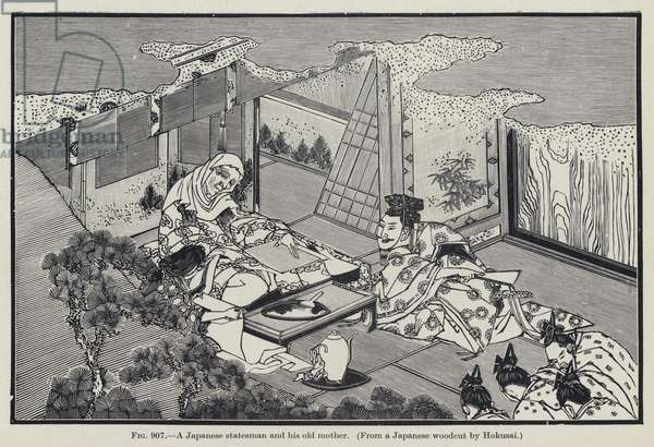 A Japanese statesman and his old mother (litho)