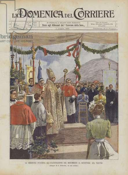 La Cerimonia Religiosa All'Inaugurazione Del Monumento Al Redentore Sul Vesuvio (colour litho)