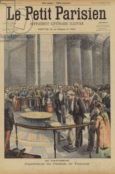 Foucault's Pendulum at the Pantheon, Paris (colour litho)