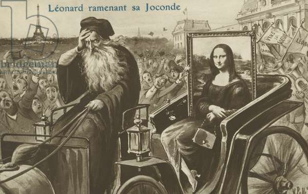Theft of the Mona Lisa: Leonardo returning his La Gioconda to Paris, 1913 (litho)