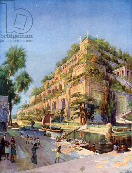 Beautiful Reconstruction of the Hanging Gardens of Babylon (colour litho)