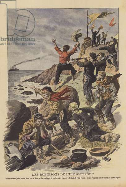 Survivors of the shipwreck of the President Felix Faure (colour litho)