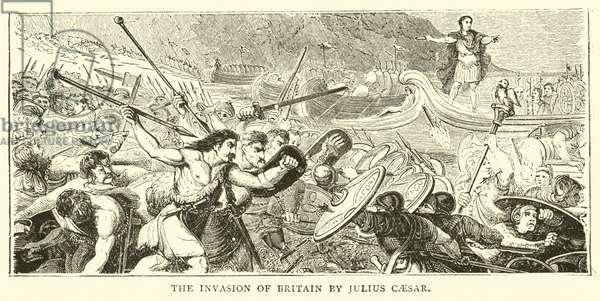 The invasion of Britain by Julius Caesar (engraving)