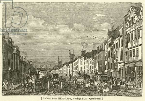 Holborn from Middle Row, looking East, Omnibuses (engraving)