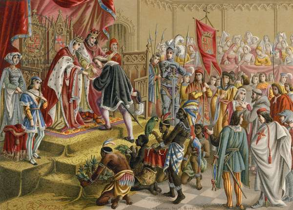 The Spanish monarchs receive Columbus in Barcelona after this first voyage