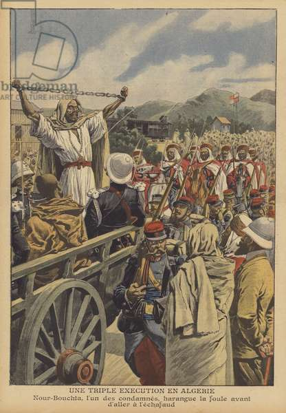 A triple execution in Algeria (colour litho)