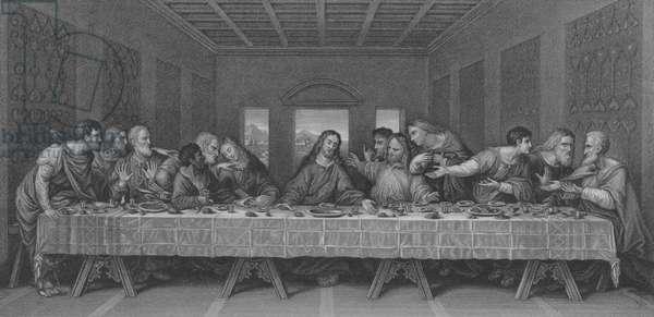 The Last Supper, St Matthew 26, Verse 17-30 (engraving)