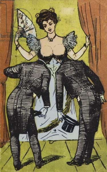 Bald pates and breasts (colour litho)