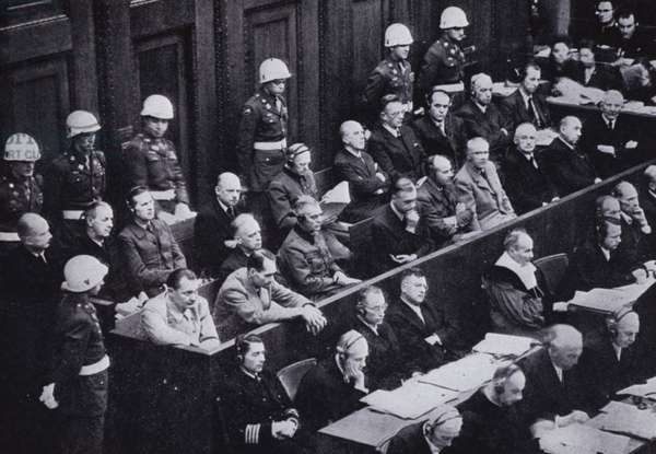 Nazi leaders on trial for war crimes at the Nuremberg Trials, Germany, 1945-1946 (b/w photo)