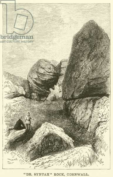"""""""Dr Syntax"""" Rock, Cornwall (engraving)"""