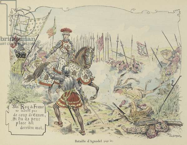 King Louis XII of France at the Battle of Agnadello, Italy, 1509 (colour litho)