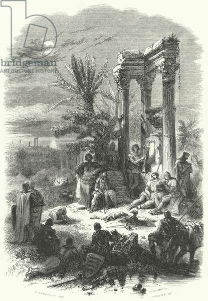 Crusaders camped before Jerusalem, First Crusade, 1099 (engraving)