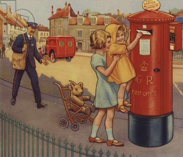 Children posting a letter (colour litho)