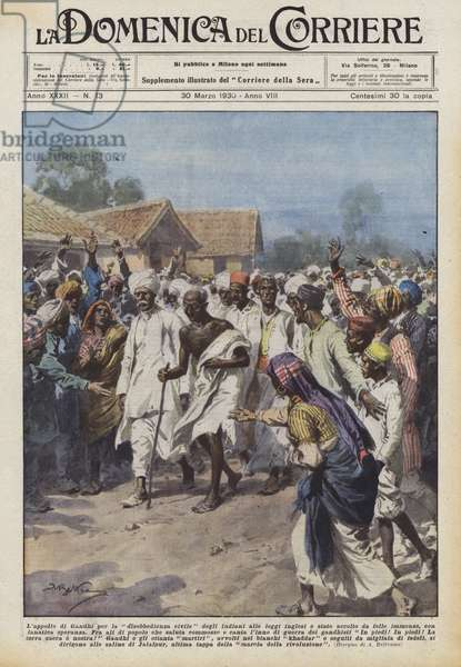 """Salt march started by Gnadhi to obtain the independance of India, illustration from """"La Domenica Del Corriere"""", 1930"""