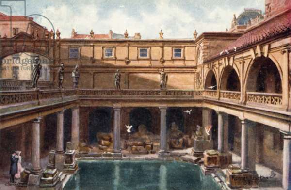 The Roman Baths, Bath (colour litho)