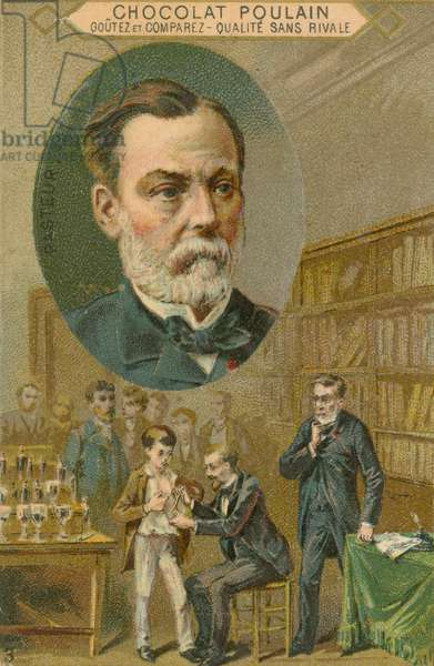 Chocolat Poulain trade card, Louis Pasteur (chromolitho)