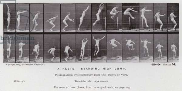 The Human Figure in Motion: Athlete, standing high jump (b/w photo)