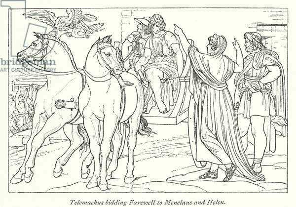 Telemachus bidding Farewell to Menelaus and Helen (litho)