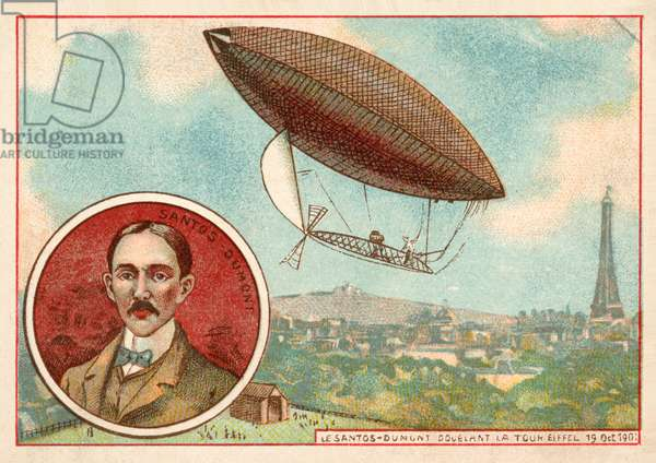 Alberto Santos-Dumont's airship flying around the Eiffel Tower, Paris, 19 October 1901 (chromolitho)