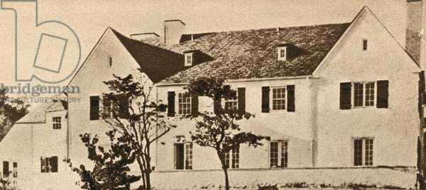 The home of American aviator Charles Lindbergh in Hopewell, New Jersey, from where his infant son was kidnapped in 1932 (b/w photo)