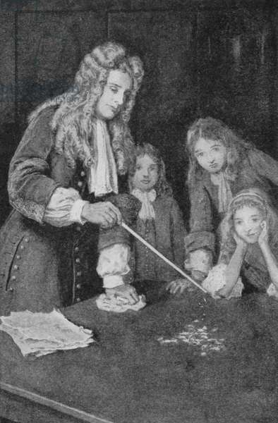 Sir Isaac Newton used to play with an electrified stick and little bits of paper to learn about Electricity (litho)