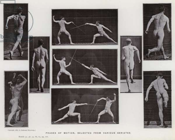 The Human Figure in Motion: Phases of motion, selected from various seriates (b/w photo)