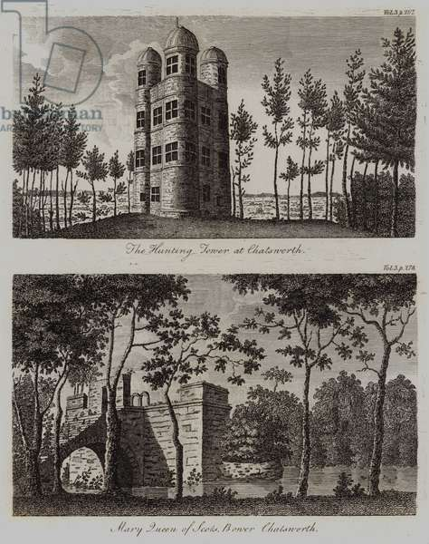 The Hunting Tower and Mary Queen of Scots' Bower, Chatsworth (engraving)