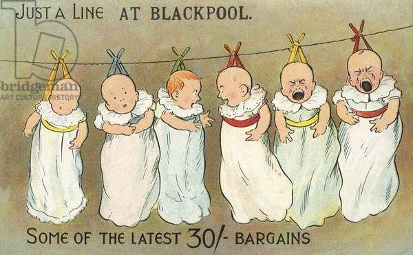 Babies on a washing line at Blackpool (chromolitho)