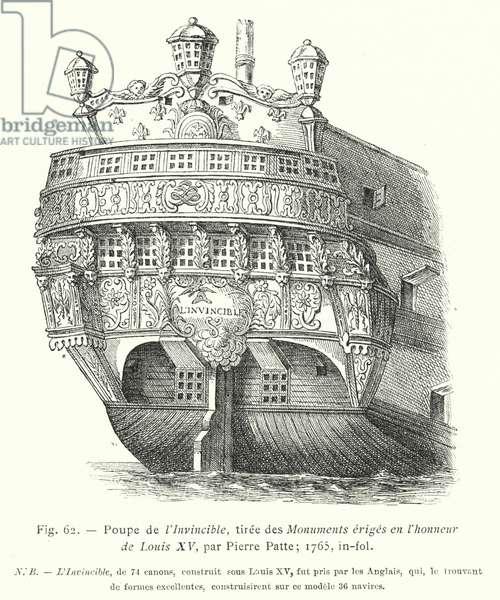 Poupe de l'Invincible, tiree des Monuments eriges en l'honneur de Louis XV, par Pierre Patte; 1765, in-fol (engraving)