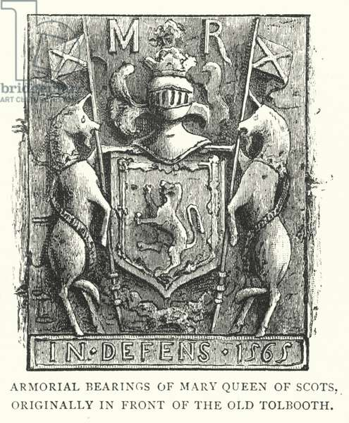 Armorial Bearings of Mary Queen of Scots, originally in front of the Old Tolbooth (engraving)