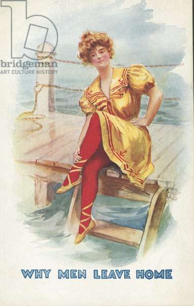 Why men leave home: woman sitting on a jetty (colour litho)