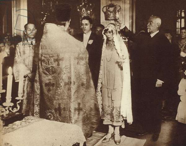 Marriage of Princess Victoria of Schaumburg-Lippe, sister of the former Kaiser Wilhelm II of Germany, and Alexander Zoubkoff, a poor Russian refugee, 1927 (b/w photo)