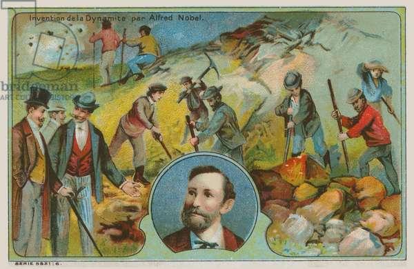 Invention of dynamite by Alfred Nobel (chromolitho)