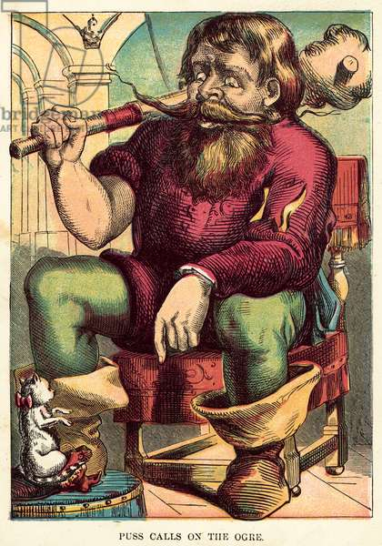 Puss calls on the ogre (coloured engraving)