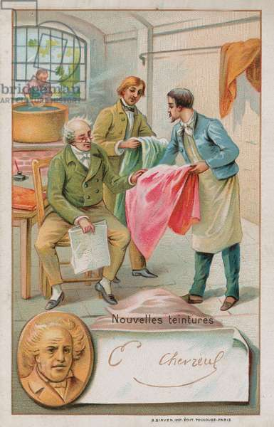 Michel Eugene Chevreul, French chemist (1786-1889), inspecting some new dyes (chromolitho)