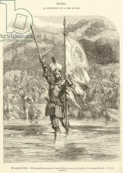 29 novembre 1513, Balboa prend possession de la mer du Sud au nom de la Castille et du royaume de Leon (engraving)