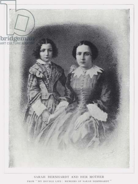 Sarah Bernhardt and her mother (b/w photo)