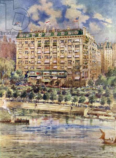 River front of The Savoy Hotel (colour litho)
