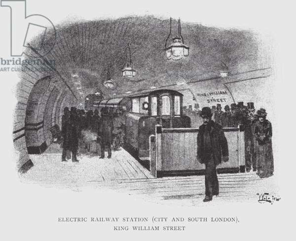 Electric Railway Station, City and South London, King William Street (litho)