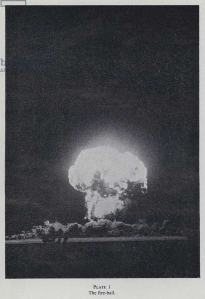 Fireball from a nuclear explosion (b/w photo)
