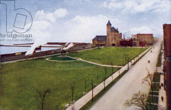Grant Park and Illinois Central Station (colour photo)