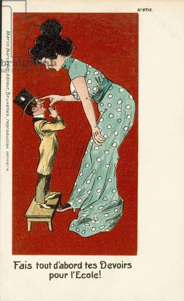 Woman telling a man to do his homework before school (colour litho)