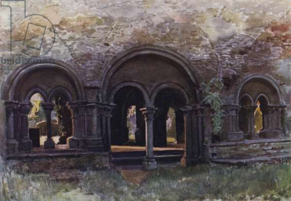 The Ruins of the Cloisters of the Abbey of St Bavon, Ghent (colour litho)