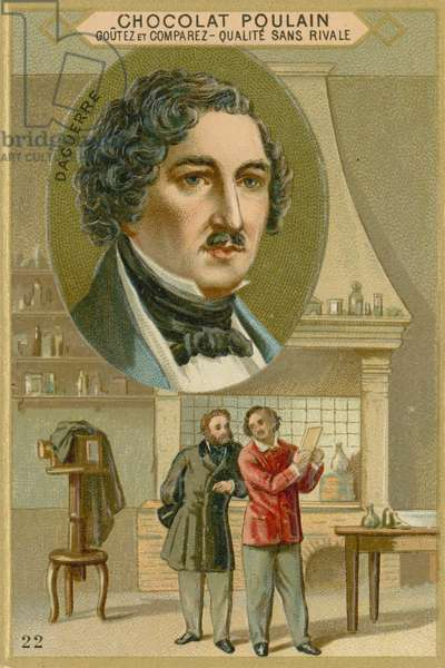 Chocolat Poulain trade card, Louis Daguerre (chromolitho)
