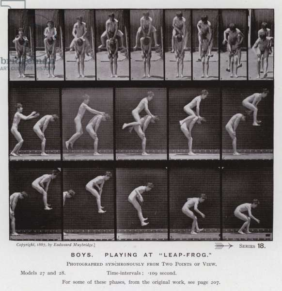 """The Human Figure in Motion: Boys, playing at """"Leap-Frog"""" (b/w photo)"""