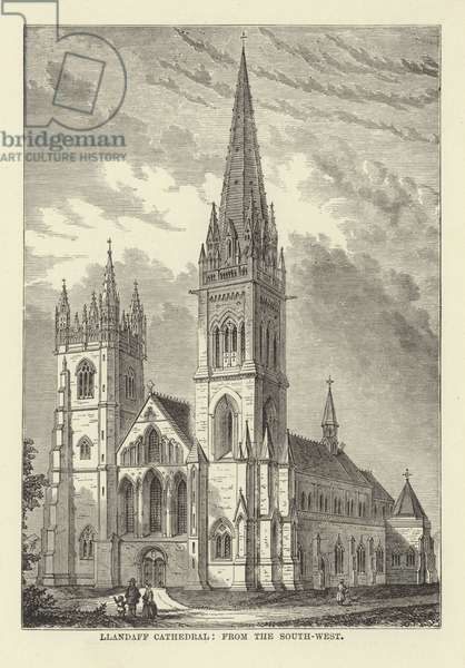 Llandaff Cathedral, from the South-West (engraving)