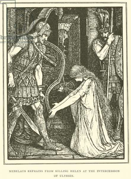 Menelaus Refrains from Killing Helen at the Intercession of Ulysses (engraving)