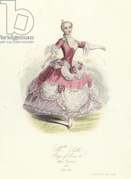 Marie Salle, French dancer; reign of Louis XV (coloured engraving)